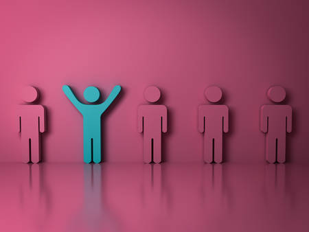 work: Stand out from the crowd and different creative idea concepts , One green man standing with arms wide open among other people on pink background with reflections and shadows . 3D rendering.
