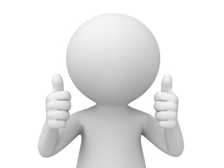 work: 3d man showing two thumbs up isolated over white background . 3D rendering. Stock Photo