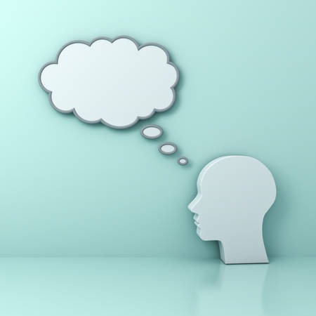 business people: Human head with blank thought bubble Thinking concept on green background with reflection . 3D rendering.