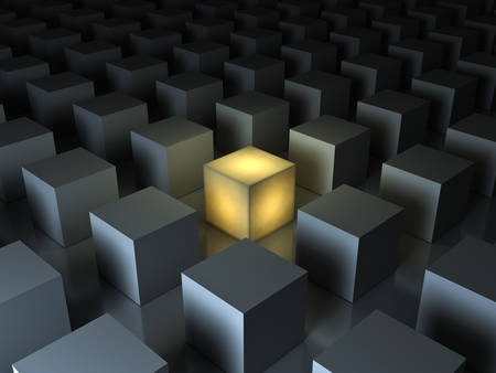 distinguished: Stand out from the crowd and different creative idea concepts , One glowing yellow light cube among other dim cubes on dark gray background with reflections and shadows . 3D rendering.