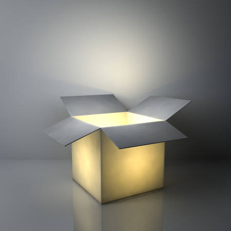 empty: Creative idea concepts , One luminous opened light box glowing on dark grey background with reflections and shadows. 3D rendering.