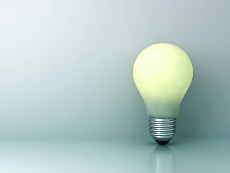 technology: Light bulb standing on cyan background with reflection creative idea concept. 3D rendering.