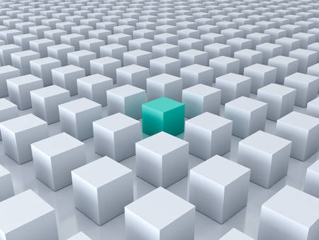 find: Stand out from the crowd and different creative idea concepts , One green cube amongs other white cubes on white background with reflections and shadows . 3D rendering.