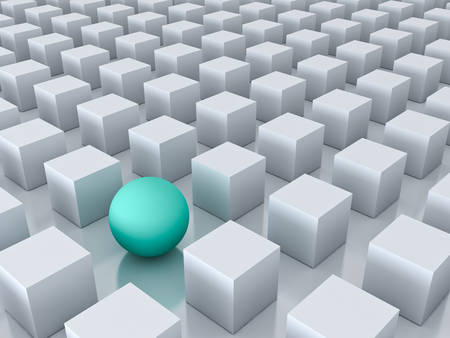 forme: Stand out from the crowd and different creative idea concepts , One green sphere among other white cubes on white background with reflections and shadows . 3D rendering.