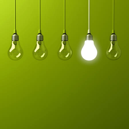 One hanging light bulb glowing different and standing out from unlit incandescent bulbs with reflection on green background , leadership and different business creative idea concept. 3D rendering.
