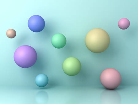 Abstract colorful 3d flying spheres on cyan background with reflection and shadows. 3D rendering.