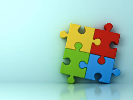 piece: Four colorful jigsaw puzzle pieces concept on cyan wall background with shadow and reflection . 3D rendering.