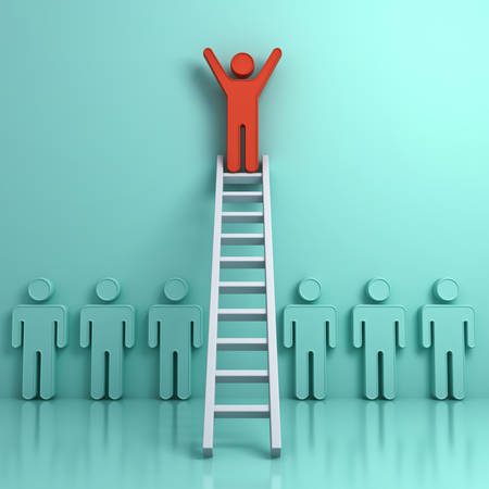 work: Stand out from the crowd and different creative idea concept, One man climbing ladder to standing on top above green people on light green background with reflection and shadows. 3D rendering. Stock Photo