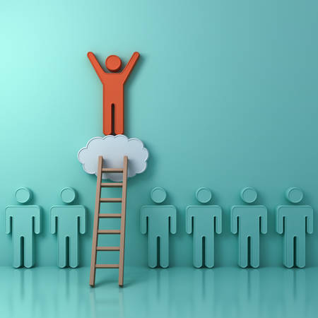 Stand out from the crowd and different creative idea concept, One man climbing ladder to standing on top of the cloud above green people on green background with reflection and shadows. 3D rendering. Standard-Bild
