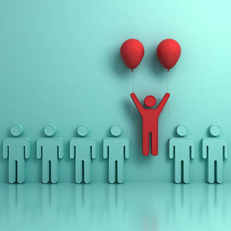 Stand out from the crowd and different creative idea concepts , One man flying upward with two red balloons out from green people on light green background with reflections and shadows. 3D rendering. Stock Photo