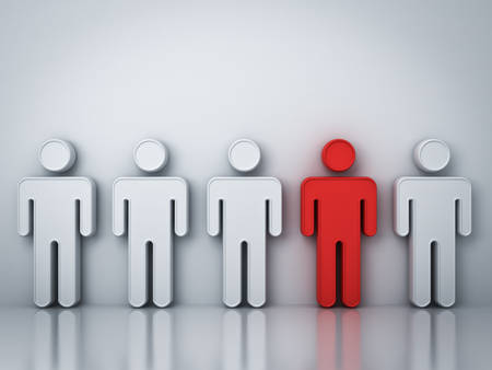 one people: Stand out from the crowd and different creative idea concepts , One red man standing among white people on gray background with reflections and shadows , leadership concept . 3D rendering.