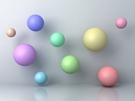 Abstract colorful 3d flying spheres on grey background with reflection and shadows. 3D rendering.
