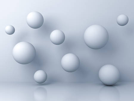 Abstract white flying 3d spheres on white background with reflection and shadows. 3D rendering.