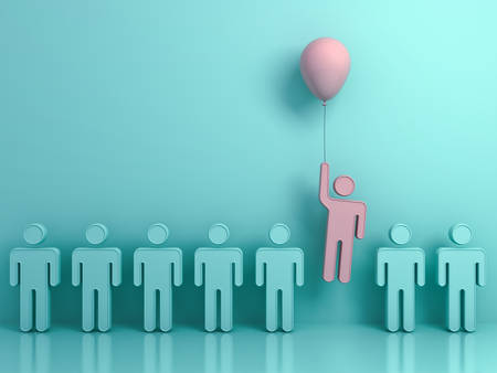 Stand out from the crowd and different concept , One man flying upward with pink balloon out from other green people on light green background with reflections and shadows . 3D rendering.