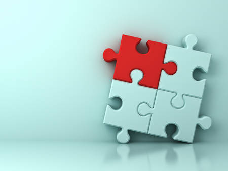 One red jigsaw puzzle piece stand out from the crowd different concept on light cyan wall background with shadow and reflection . 3D rendering. Stock Photo
