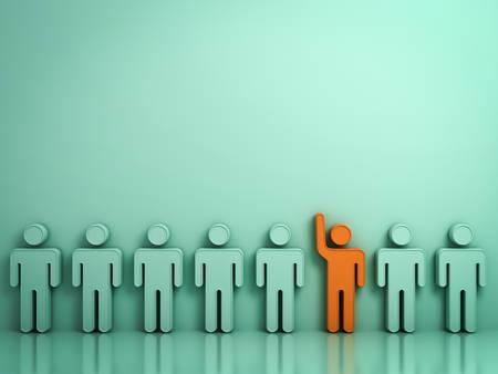 Se démarquer de la foule et d'un concept différent, Un homme orange accrochant sa main à d'autres personnes sur un fond vert clair avec des reflets et des ombres. Rendu 3D. Banque d'images - 80999170