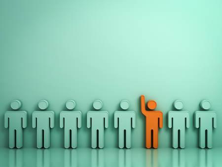 Stand out from the crowd and different concept , One orange man raising his hand among other people on light green background with reflections and shadows . 3D rendering. Stok Fotoğraf