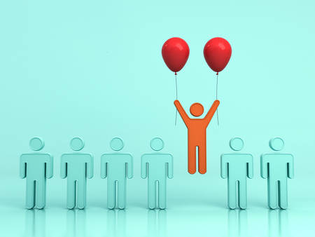 Stand out from the crowd and different creative idea concept , One man flying upward with two red balloons out from green people on light green background with reflections and shadows. 3D rendering.