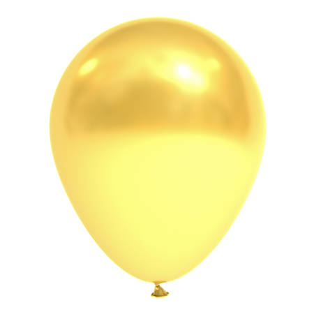 Golden balloon isolated over white background with reflection . 3D rendering.