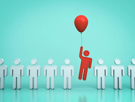 Stand out from the crowd and different concept , One red man flying upward with red balloon out from other people on light green pastel color background with reflections and shadows . 3D rendering.