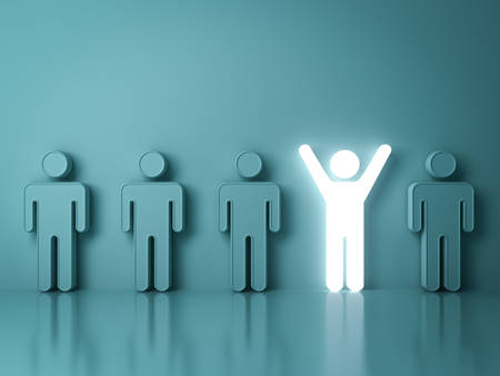 Stand out from the crowd and different creative idea concepts , One glowing light man standing with arms wide open among other people on green background with reflections and shadows . 3D rendering.