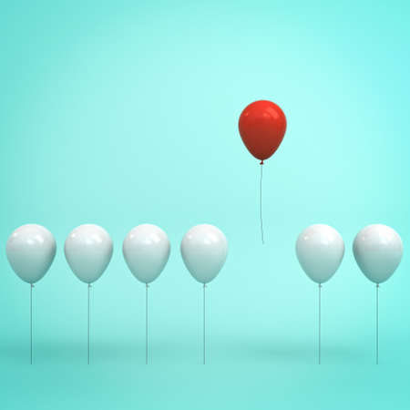 Stand out from the crowd and different concept , One red balloon flying in the air away from other white balloons on light green pastel color background with reflections and shadows . 3D rendering.