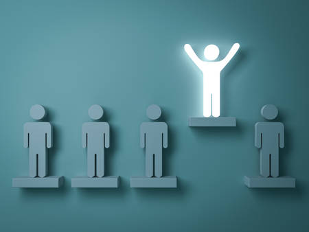 creative: Stand out from the crowd and different creative idea concepts , One glowing light man standing with arms wide open above other people on green background with reflections and shadows . 3D rendering. Stock Photo