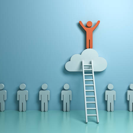 Stand out from the crowd and different concept , One man climbing ladder to standing on top of the cloud above other people on green pastel color background with reflection and shadows. 3D rendering.
