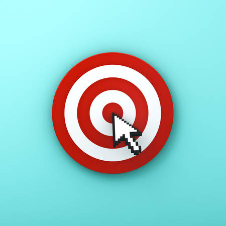 Arrow cursor clicking in the center of the red dart board or target isolated on green pastel color background with shadow . 3D rendering.