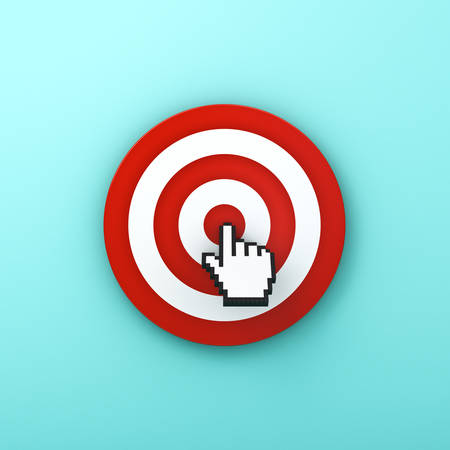 cyan business: Hand cursor clicking in the center of the red dart board or target isolated on green pastel color background with shadow . 3D rendering.