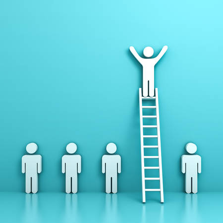 Stand out from the crowd and different concept , One man standing with arms wide open on top of ladder above other people on light green pastel background with reflection and shadow. 3D rendering.