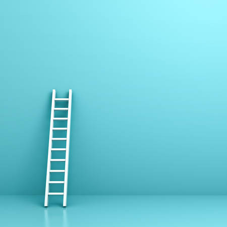 high: White ladder on light blue wall background with reflection and shadow . 3D rendering. Stock Photo