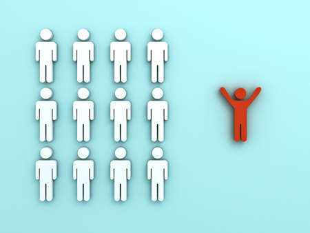 business team: Stand out from the crowd and different concept , One red man standing with arms wide open isolated from other people on light green pastel color background with reflections and shadows . 3D rendering.