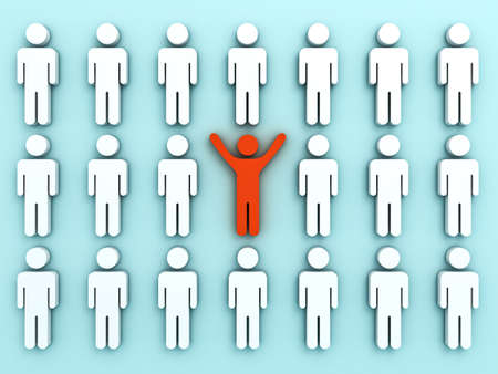 middle: Stand out from the crowd and different concept , One red man standing with arms wide open among other people on light green pastel color background shadows . 3D rendering.
