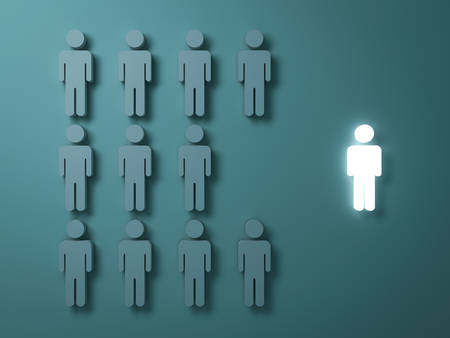 Stand out from the crowd and different creative idea concepts , One light man standing alone separate from group of grey people on dark green background , leadership concept . 3D rendering. Banque d'images