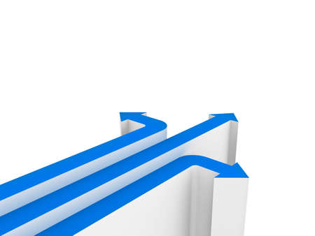 questions: Three blue arrows showing three different directions isolated over white background with blank space . 3D rendering. Stock Photo
