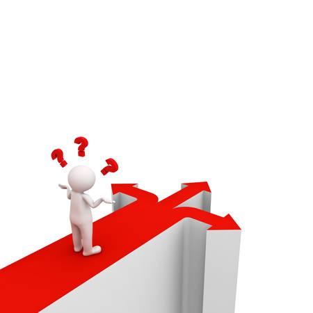 3 d 男と考えて迷っている 3 つの異なる方向を示す 3 つの赤い矢印で混乱ホワイト バック グラウンドに移動する方法。3 D レンダリング。 写真素材