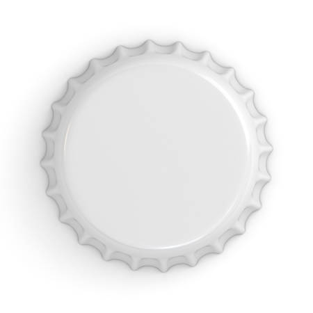 shiny: Blank white bottle cap isolated on white background with shadow . 3D rendering.