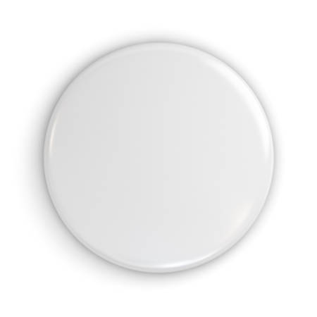 Blank white badge or button isolated on white background with shadow . 3D rendering. Banque d'images