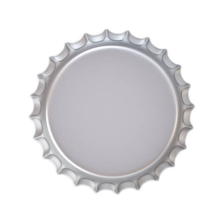 underneath: Blank metal bottle cap under the lid side isolated on white background . 3D rendering.