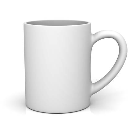 White coffee cup or blank mug isolated on white background with shadow and reflection . 3D rendering.