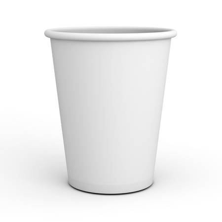 Blank white paper cup close up isolated on white background with shadow . 3D rendering.