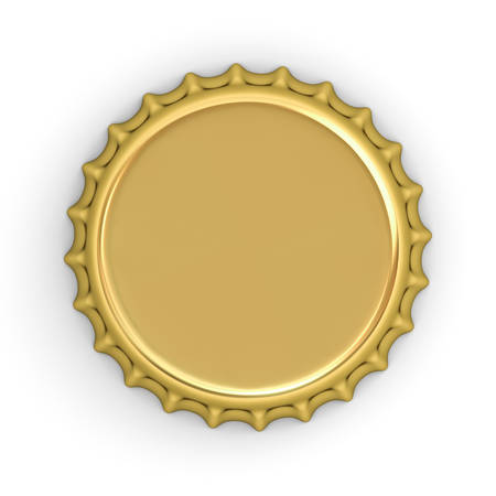 Blank gold bottle cap isolated on white background with shadow . 3D rendering. Stock Photo