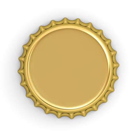 Lege gouden fles pet geïsoleerd op een witte achtergrond met schaduw. 3D-weergave.