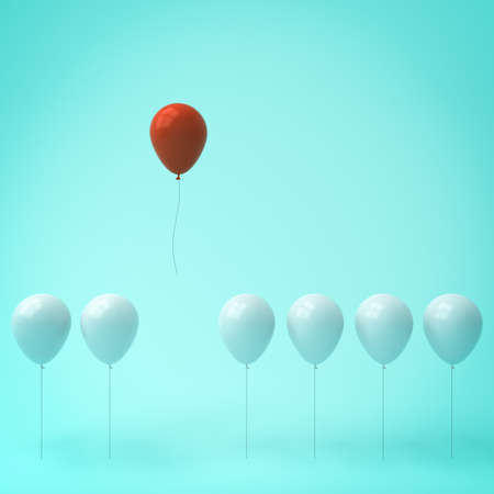floating: Stand out from the crowd and different concept , One red balloon different from other white balloons on light green pastel color wall background with window reflections and shadows . 3D rendering.
