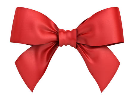 Red gift ribbon bow isolated on white background . 3D rendering. Stock Photo