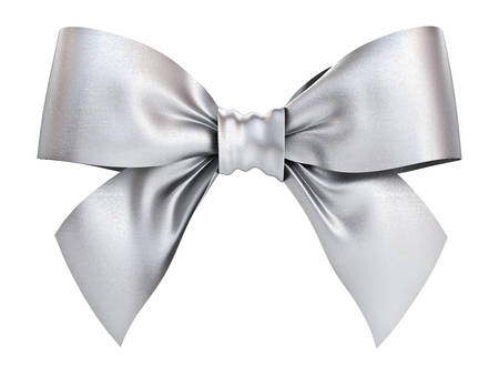 Silver gift ribbon bow isolated on white background . 3D rendering. Banque d'images
