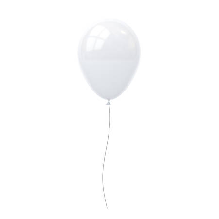 celebration party: White balloon isolated on white background with window reflection . 3D rendering. Stock Photo