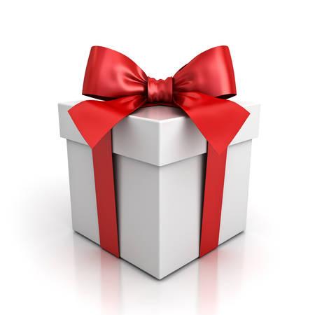 Cadeau doos of cadeau doos met rode lint boog geïsoleerd op een witte achtergrond met schaduw en reflectie. 3D-weergave.