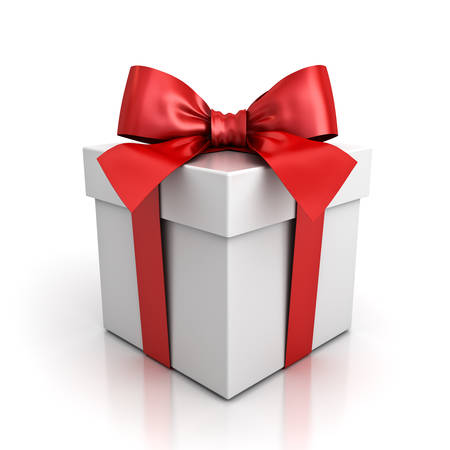 Gift box or present box with red ribbon bow isolated on white background with shadow and reflection . 3D rendering. Stock Photo